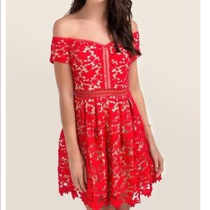 Francesca's Beverly Red Lace Dress
